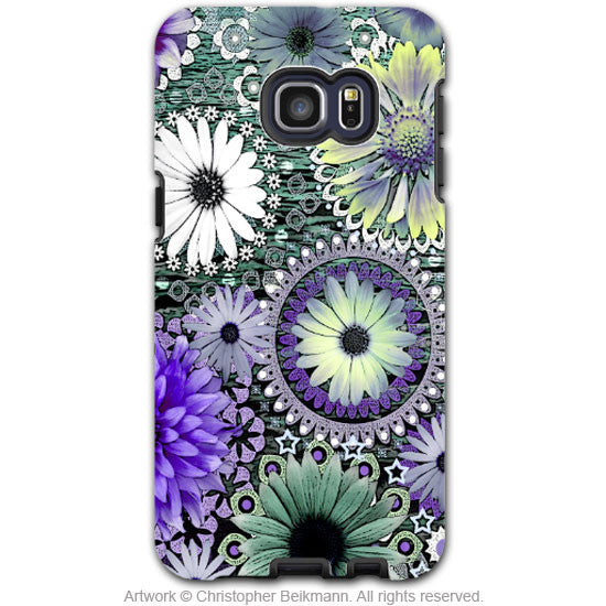 Purple Paisley Floral - Artistic Galaxy S6 EDGE+ TOUGH Case - Dual Layer Protection - Tidal Bloom