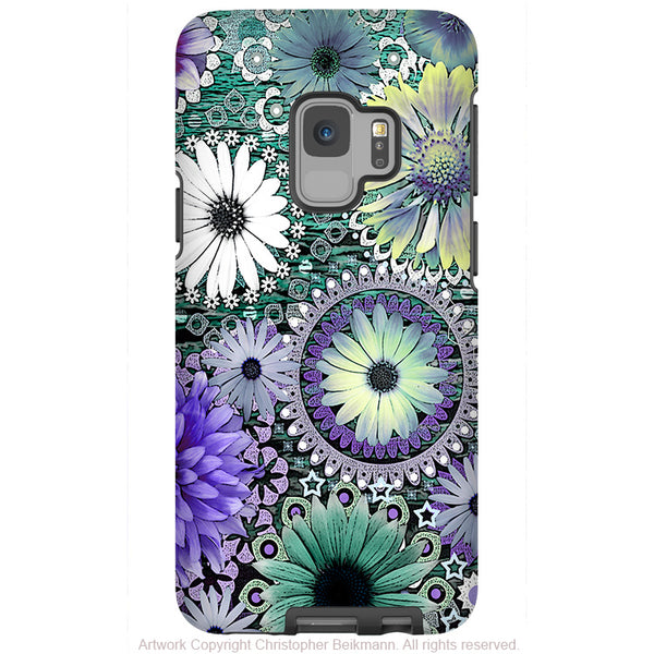 Tidal Bloom - Galaxy S9 / S9 Plus / Note 9 Tough Case - Dual Layer Protection for Samsung S9 - Purple and Green Paisley Daisy Case