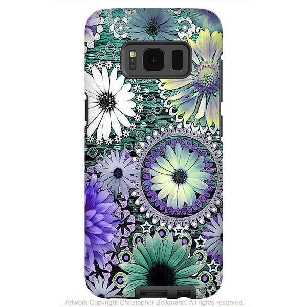 Purple and Green Paisley Floral - Artistic Samsung Galaxy S8 PLUS Tough Case - Dual Layer Protection - tidal bloom - Fusion Idol Arts