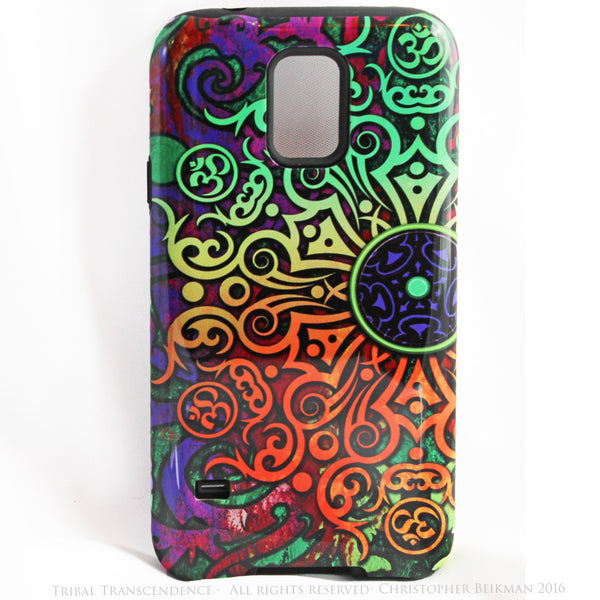 "Artistic Tribal Mandala Galaxy S5 case - ""Tribal Transcendence"" - Colorful S5 Tough Case - Galaxy S5 TOUGH Case - 1"