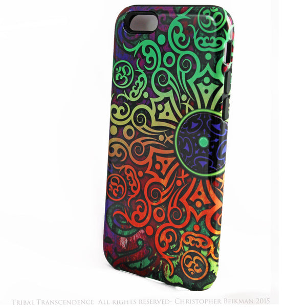 Tribal Transcendence - Om iPhone 6 6s Plus TOUGH Case - Orange - Purple Green - Tribal Mandala - Dual Layer Case by Da Vinci Case - iPhone 6 6s Plus Tough Case - 2