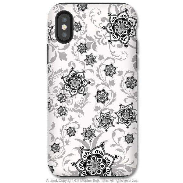 Victoriana - Paisley iPhone X Tough Case - Dual Layer Protection for Apple iPhone 10 - Black and White Victorian Floral Art Case - iPhone X Tough Case - Fusion Idol Arts - New Mexico Artist Christopher Beikmann