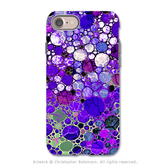 Purple Bubble Abstract - Artistic iPhone 7 Tough Case - Dual Layer Protection - Grape Bubbles - iPhone 7 Tough Case - 1