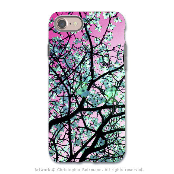 Pink Tree Blossoms - Artistic iPhone 7 Tough Case - Dual Layer Protection - Aqua Blooms - iPhone 7 Tough Case - 1