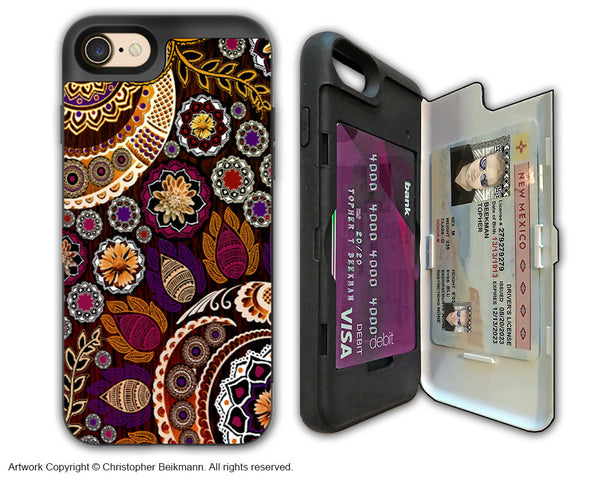 Fall Color Paisley Floral - Artistic Apple iPhone 7 Card Holder Case - Protective Wallet Case - autumn Mehndi - iPhone 7 Card Holder Case - Fusion Idol Arts - New Mexico Artist Christopher Beikmann