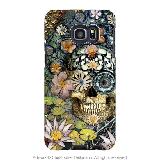 Floral Sugar Skull - Artistic Galaxy S6 EDGE+ TOUGH Case - Dual Layer Protection - Bali Botaniskull