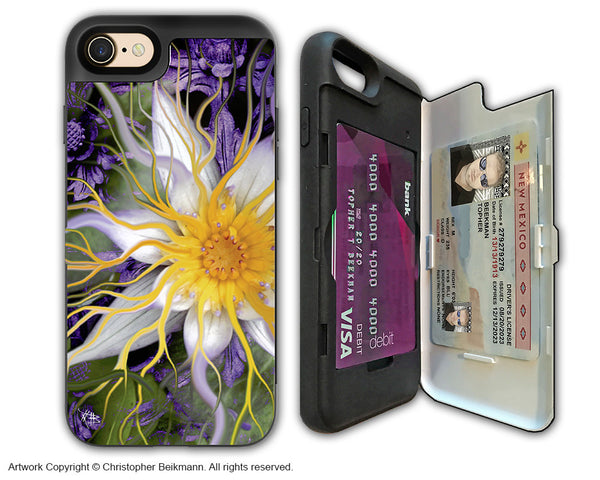 Purple Lotus Flower - Artistic Apple iPhone 7 Card Holder Case - Protective Wallet Case - bali dream flower - iPhone 7 Card Holder Case - Fusion Idol Arts - New Mexico Artist Christopher Beikmann