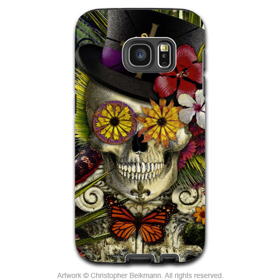 Baron Samedi Voodoo Galaxy S7 Case - Baron in Bloom Botaniskull - New Orleans Skull Samsung Galaxy S7 Tough Case