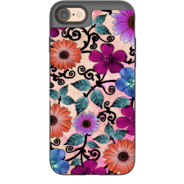 Colorful Floral Art - Bittersweet Blossoms - Artistic Paisley Apple iPhone 7 / 8 Card Holder Case