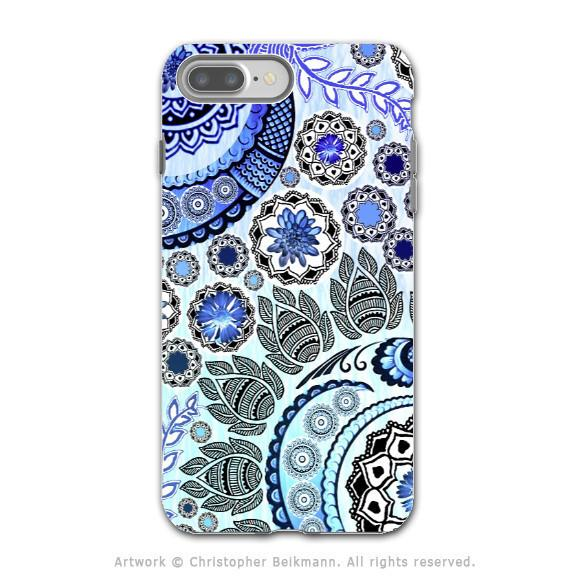 Blue Paisley Mehndi - Artistic iPhone 7 PLUS Tough Case - Dual Layer Protection - Blue Mehndi - iPhone 7 Plus Tough Case - Fusion Idol Arts - New Mexico Artist Christopher Beikmann