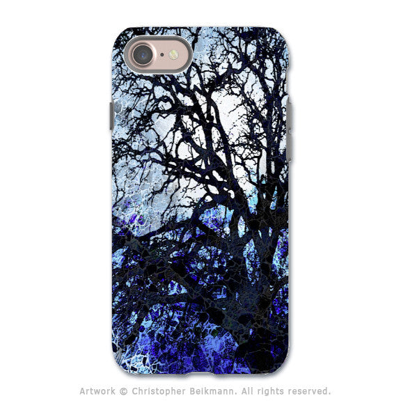 Blue Abstract Tree Art - Apple iPhone 7 Tough Case - Dual Layer Protection - Moonlit Night
