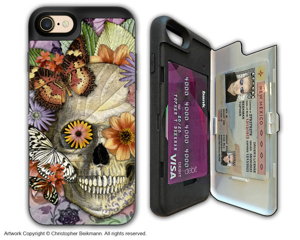 Butterfly Floral Skull - Artistic Apple iPhone 7 Card Holder Case - Protective Wallet Case - Butterfly Botaniskull - iPhone 7 Card Holder Case - Fusion Idol Arts - New Mexico Artist Christopher Beikmann