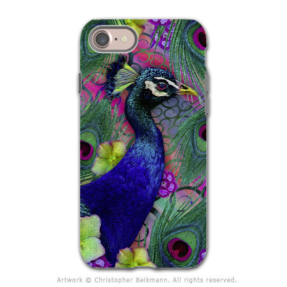 Colorful Peacock Floral - Artistic iPhone 7 Tough Case - Dual Layer Protection - Nemali Dreams - iPhone 7 Tough Case - 1