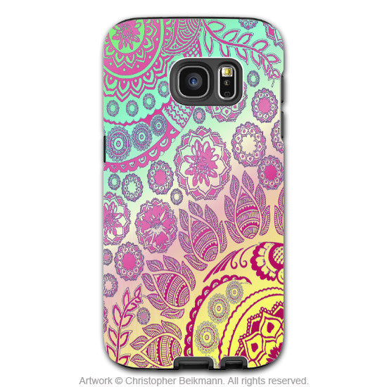 Pink Pastel Paisley - Artistic Galaxy S6 EDGE TOUGH Case - Dual Layer Protection - Cotton Candy mehndi - Galaxy S6 Edge Tough Case - 1
