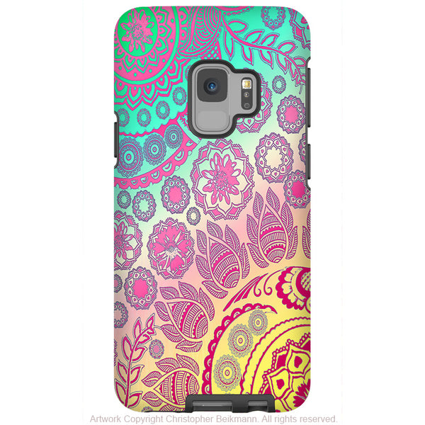 Cotton Candy Mehndi - Galaxy S9 / S9 Plus / Note 9 Tough Case - Dual Layer Protection for Samsung S9 - Pastel Paisley Art Case