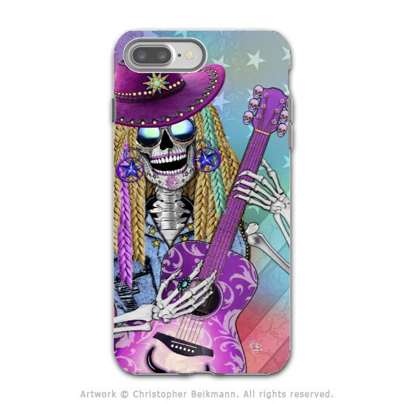 Country Girl Music Skull - Artistic iPhone 7 PLUS Tough Case - Dual Layer Protection - Scary Underwood - iPhone 7 Plus Tough Case - Fusion Idol Arts - New Mexico Artist Christopher Beikmann