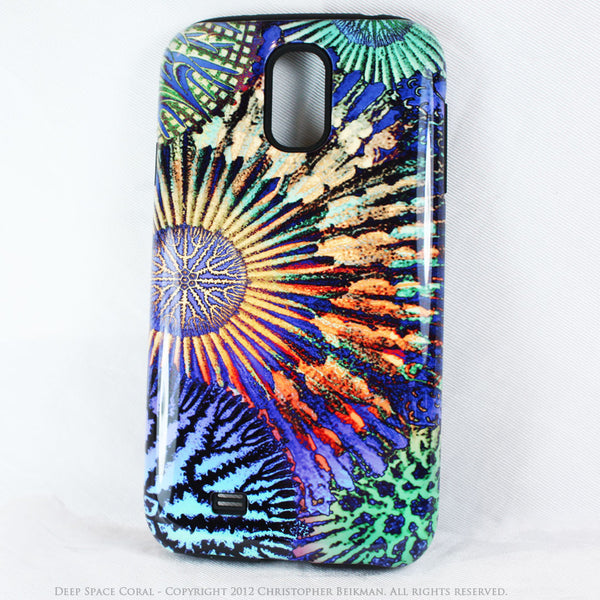 "Abstract Ocean Coral Galaxy S4 case - TOUGH Style Protective Case - Artwork ""Deep Space Coral"" - Galaxy S4 TOUGH Case - 1"