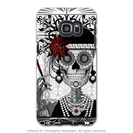 Flapper Girl Sugar Skull - Artistic Galaxy S6 EDGE+ TOUGH Case - Dual Layer Protection - Mrs Gloria Vanderbone