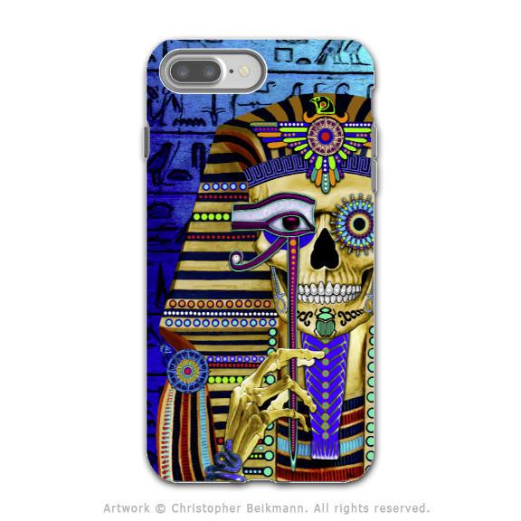 Egyptian Pharaoh Skull - Artistic iPhone 7 PLUS Tough Case - Dual Layer Protection - Funky Bone Pharaoh - iPhone 7 Plus Tough Case - Fusion Idol Arts - New Mexico Artist Christopher Beikmann