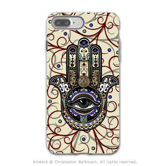 Hamsa Hand - Artistic iPhone 7 PLUS Tough Case - Dual Layer Protection - Sacred Defender Hamsa - iPhone 7 Plus Tough Case - Fusion Idol Arts - New Mexico Artist Christopher Beikmann