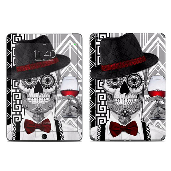 1920's Gentlemen Sugar Skull - Mr JD Vanderbone - Day of the Dead - Art Deco iPad AIR 2 Vinyl Skin Decal - iPad AIR 2 - SKIN - 1