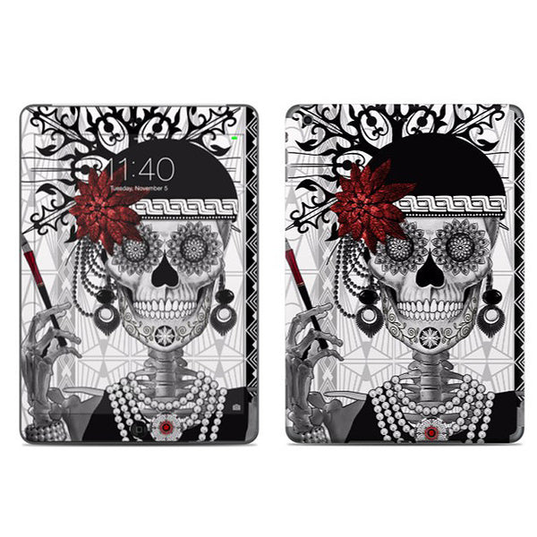Flapper Girl Sugar Skull - Mrs Gloria Vanderbone - Day of the Dead - iPad AIR 2 Vinyl Skin Decal - iPad AIR 2 - SKIN - 1