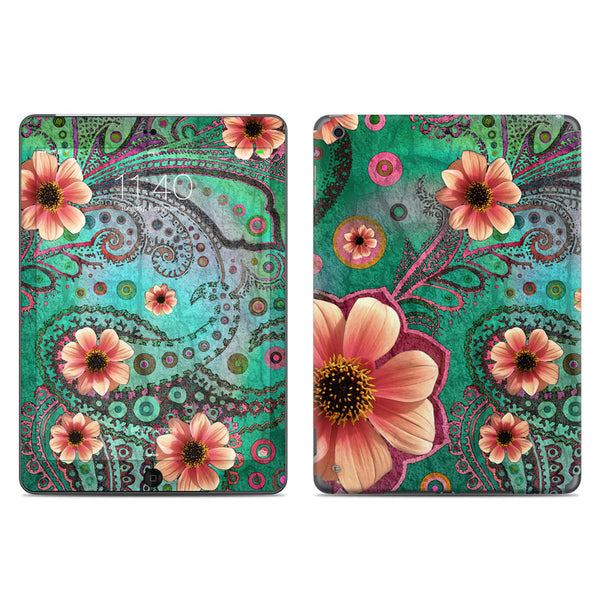 Paisley Paradise - Teal Green and Orange Paisley Floral - iPad AIR 2 Vinyl Skin Decal - iPad AIR 2 - SKIN - 1