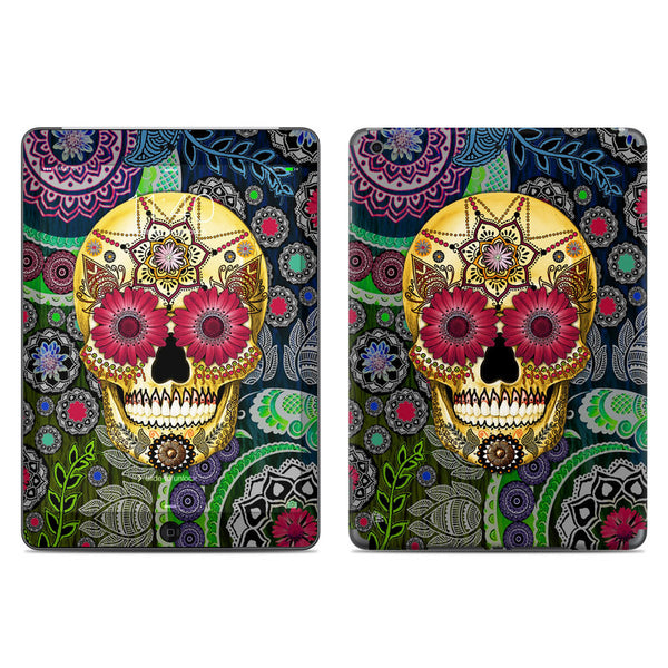 Colorful Sugar Skull Paisley Garden - Day of the Dead - iPad AIR 2 Vinyl Skin Decal - iPad AIR 2 - SKIN - 1