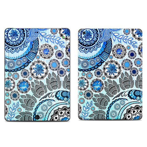 Blue Mehndi - Blue and White Paisley Floral - iPad AIR 2 Vinyl Skin Decal - iPad AIR 2 - SKIN - 1
