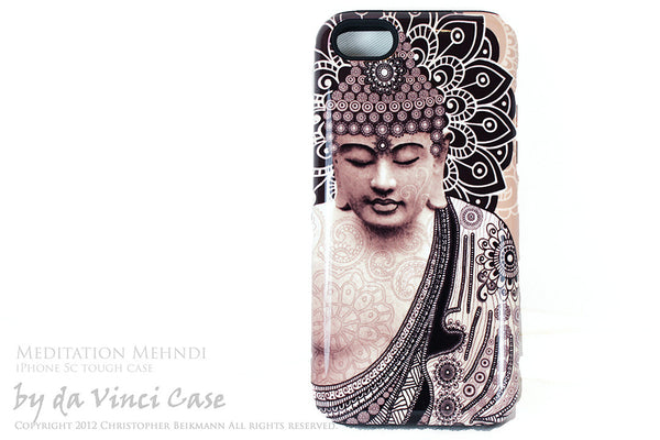 "Tan Paisley Buddha iPhone 5c TOUGH Case - Unique Buddhist Art ""Meditation Mehndi"" Zen Yoga iPhone 5c Case - iPhone 5c TOUGH Case - 1"