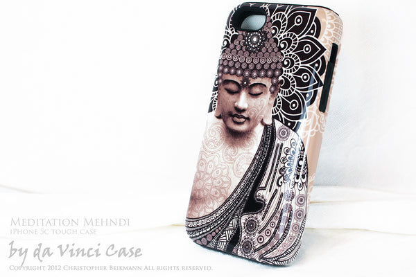 "Tan Paisley Buddha iPhone 5c TOUGH Case - Unique Buddhist Art ""Meditation Mehndi"" Zen Yoga iPhone 5c Case - iPhone 5c TOUGH Case - 2"