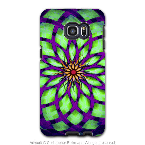 Geometric Lotus Flower - Artistic Galaxy S6 EDGE+ TOUGH Case - Dual Layer Protection - Kalotuscope