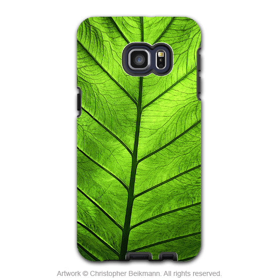 Tropical Green Leaf - Artistic Galaxy S6 EDGE+ TOUGH Case - Dual Layer Protection - Leaf of Knowledge