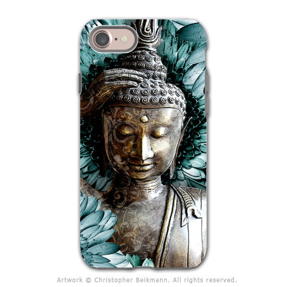 Blue Floral Buddha Apple iPhone 7 Tough Case - Dual Layer Protection - Mind Bloom
