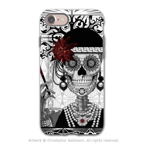 1920's Flapper Girl Sugar Skull iPhone SE Tough Case - Dual Layer Protection - Day of the Dead - Mrs Gloria Vanderbone