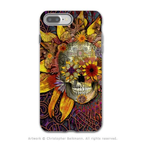 Floral Sugar Skull - Artistic iPhone 7 PLUS Tough Case - Dual Layer Protection - Origins Botaniskull - iPhone 7 Plus Tough Case - Fusion Idol Arts - New Mexico Artist Christopher Beikmann
