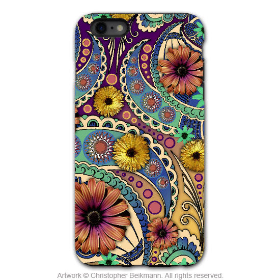 Colorful Paisley Daisy Art - Artistic iPhone 6 6s PLUS Tough Case - Dual Layer Protection - Petals and Paisley