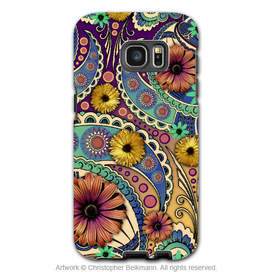 Colorful Paisley Daisy Art - Artistic Samsung Galaxy S7 EDGE Tough Case - Dual Layer Protection - Petals and Paisley