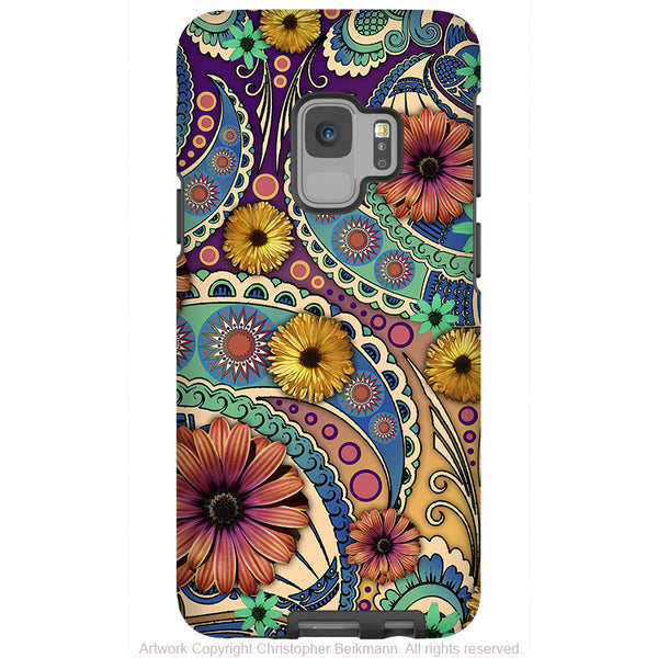 Petals and Paisley - Galaxy S9 / S9 Plus / Note 9 Tough Case - Dual Layer Protection for Samsung S9 - Colorful Paisley Daisy Case