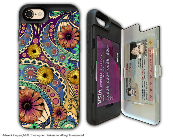 Colorful Paisley Daisy Art - Artistic Apple iPhone 7 Card Holder Case - Protective Wallet Case - petals and paisley - iPhone 7 Card Holder Case - Fusion Idol Arts - New Mexico Artist Christopher Beikmann