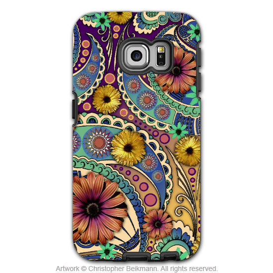 Colorful Paisley Daisy Samsung Galaxy S6 Edge Case - Petals and Paisley - Galaxy S6 Edge Tough Case - 1
