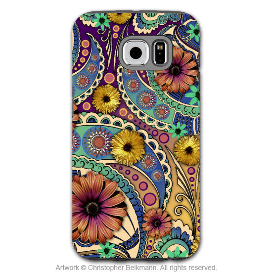 Colorful Paisley Daisy Art - Artistic Samsung Galaxy S6 Tough Case - Dual Layer Protection - Petals and Paisley