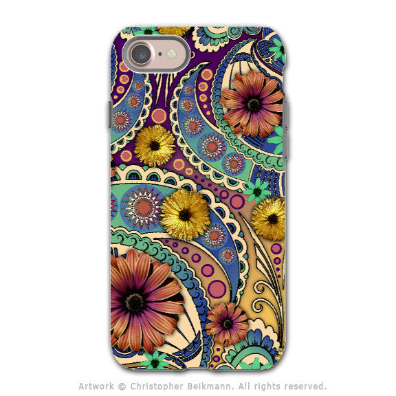 Colorful Paisley Daisy Art - Artistic iPhone 7 Tough Case - Dual Layer Protection - Petals and Paisley - iPhone 7 Tough Case - 1