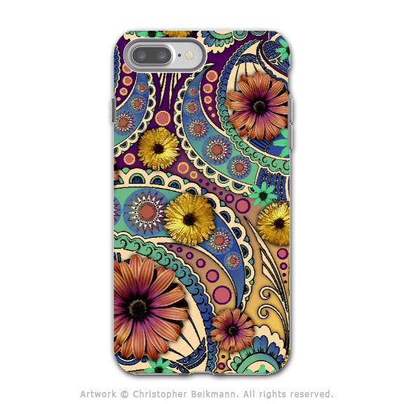 Colorful Paisley Daisy Art - Artistic iPhone 7 PLUS Tough Case - Dual Layer Protection - Petals and Paisley - iPhone 7 Plus Tough Case - 1