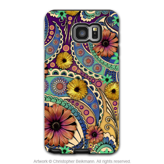 Colorful Paisley Daisy Art - Artistic Samsung Galaxy NOTE 5 Tough Case - Dual Layer Protection - Petals and Paisley