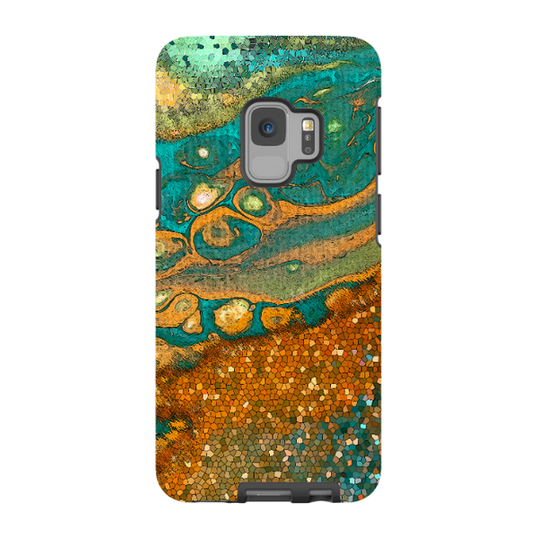 Rusty Pixels - Galaxy S9 / S9 Plus / Note 9 Tough Case - Dual Layer Protection for Samsung S9 - Green and Orange Abstract Art Case