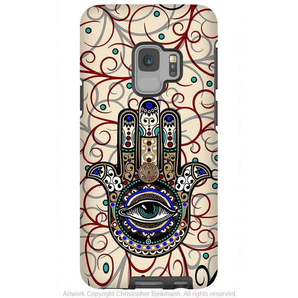 Sacred Defender Hamsa - Galaxy S9 / S9 Plus / Note 9 Tough Case - Dual Layer Protection for Samsung S9 - Evil Eye Protection Case