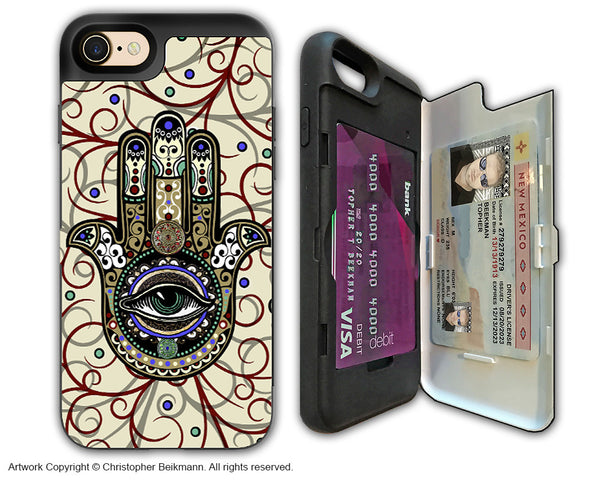 Hamsa Hand Evil Eye - Artistic Apple iPhone 7 Card Holder Case - Protective Wallet Case - sacred defender hamsa - iPhone 7 Card Holder Case - Fusion Idol Arts - New Mexico Artist Christopher Beikmann