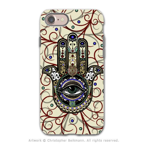 Hamsa Hand Evil Eye - Artistic iPhone 7 Tough Case - Dual Layer Protection - Sacred Defender Hamsa - iPhone 7 Tough Case - Fusion Idol Arts - New Mexico Artist Christopher Beikmann