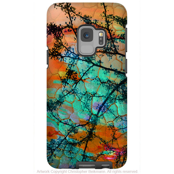 Southwest Sunset - Galaxy S9 / S9 Plus / Note 9 Tough Case - Dual Layer Protection for Samsung S9 - Orange and Turquoise Art Case